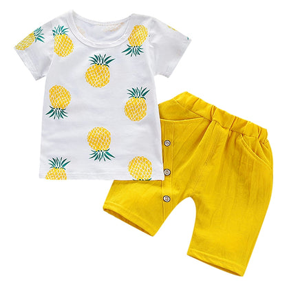 Fruit Print Summer Two-piece Suit Round Collar Short Sleeve Cotton Children Garment