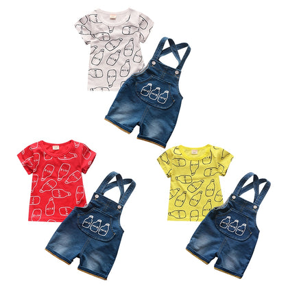 Bottle Print Summer Two-piece Suit Round Collar Short Sleeve Cotton Children Garment
