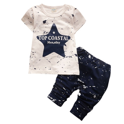 Round Collar Short Sleeve Star Print Cotton Summer Kid Two-piece Suit