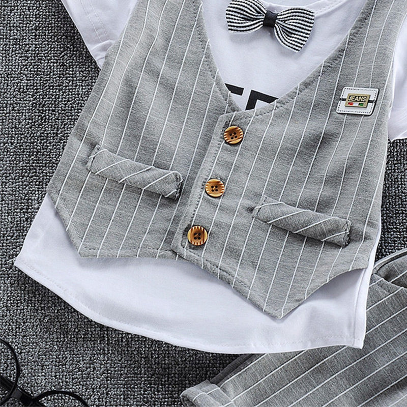 Round Collar Short Sleeve Bow Tie Plaid Print Summer Kid False Three-piece Suit