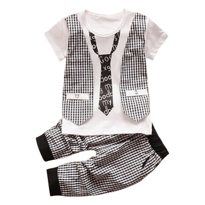 Round Collar Short Sleeve Plaid Necktie Print Summer Kid Two-piece Suit