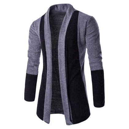 Men Cardigan Color Splice Slim Fit Long Sleeve Sweater