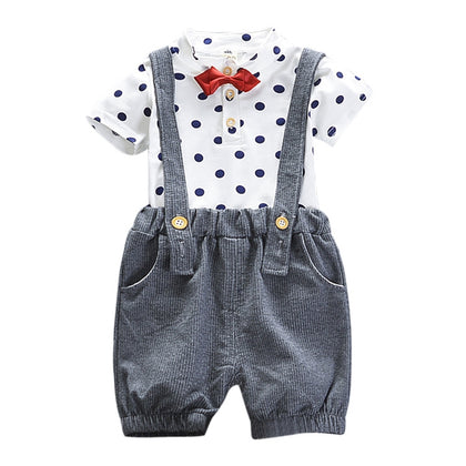 Stand Collar Short Sleeve Polka Dot Print Summer Kid Two-piece Suit