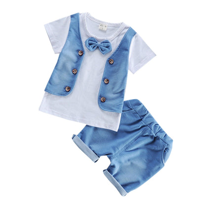 Round Collar Short Sleeve Bow Tie Button Summer Kid False Three-piece Suit