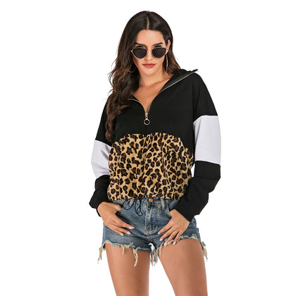 Leopard Print Hoodie Stitching Fashion Loose Hooded Sweater