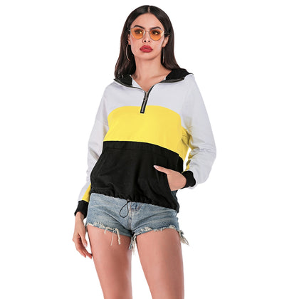 Loose-fitting Women Hoodie Color Splice Long Sleeve with Zipper Design