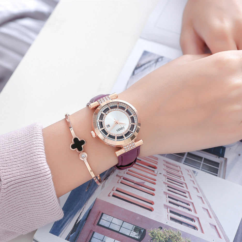 Oubaoer 2007 Ladies Watch Fashion Inlaid Rhinestone Personality Hollow Design Slim Style