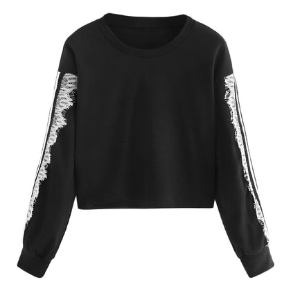 Women Pullover Lace Splice Round Collar Long Sleeve Tightened Cuff