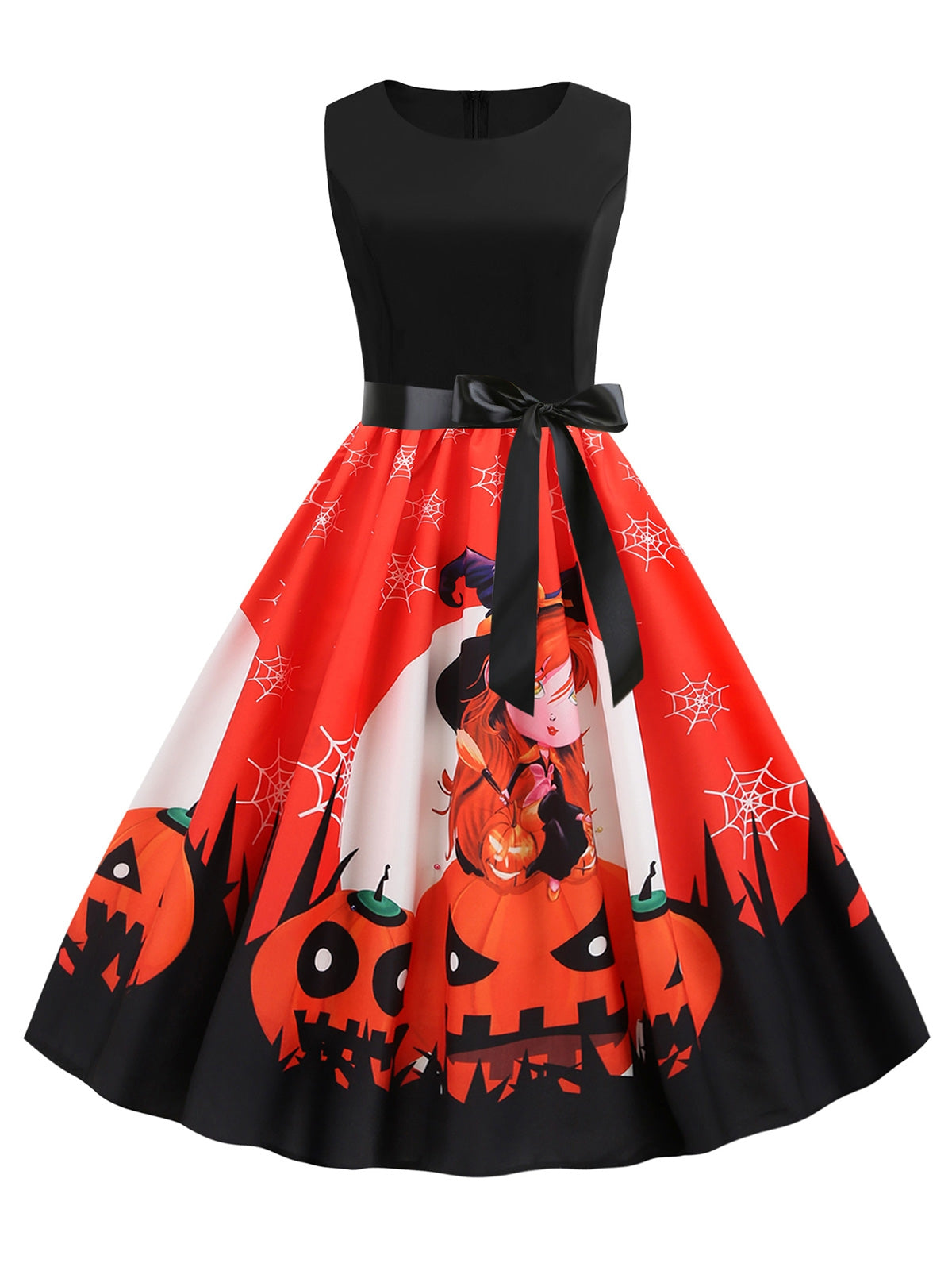 Retro 50s Halloween Sleeveless Party Swing Dress