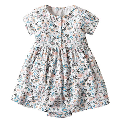 19F103 Baby Girls Romper Jumpsuit Floral Printed Short Sleeve
