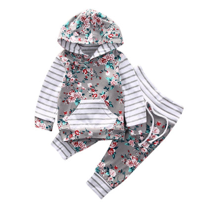 Baby Girls 2-piece Suit Top Trousers Long Sleeve Hood