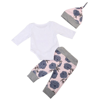 4-in-1 Floral Print Suit Top Pants Hat Hair Bend Set for Baby Girls