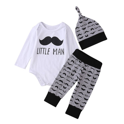 Three-piece Children Clothing with Beard Pattern