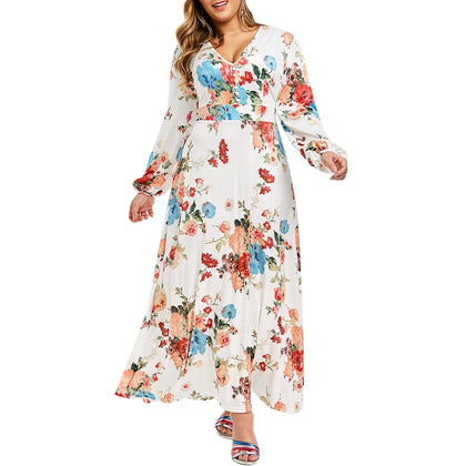 Plus Size Bohemian Floral Print Maxi A Line Dress