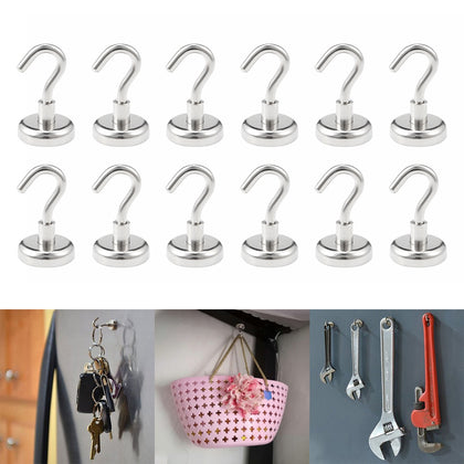 12pcs SNE25L Strong Neodymium Magnet Hook for Indoor Outdoor Hanging