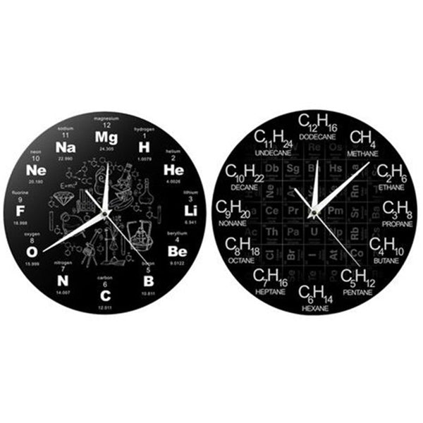 Creative Periodic Table of Chemical Elem Wall Clock Formula Scale Science Art Decoration
