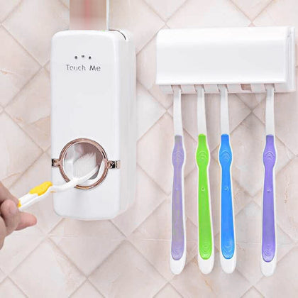 Automatic Toothpaste Dispenser Toothbrush Holder Free Punching Storage Rack