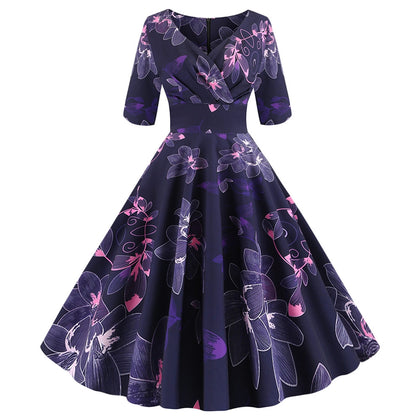 V-neck Floral Print Dress A-line Middle Sleeve Women Wear