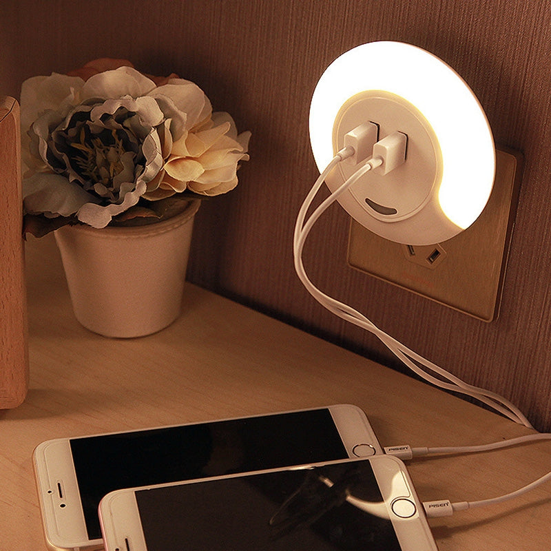 CH001 Dual USB Charging Port Light Sensing Control Socket LED Night Light