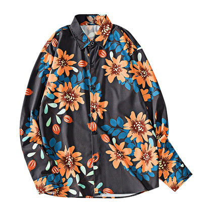 Vintage Floral Print Shirt Turned-down Collar Men's Top