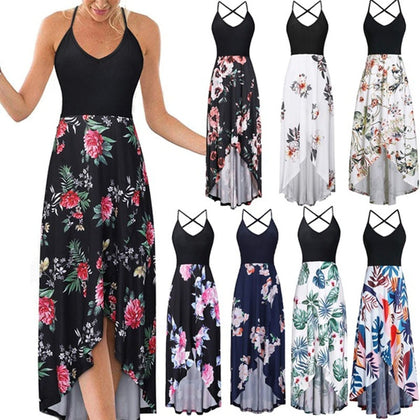 Women Sexy Strapped Backless Patchwork Floral Print Maxi Dress