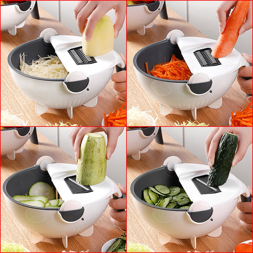9 IN 1 Multi-function Easy Food Chopper Mandoline Vegetable Cutter Food Slicer Rotate Drain basket