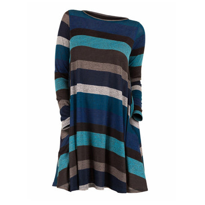 Striped Long Sleeve Longline Knitwear