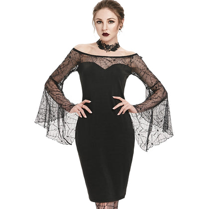 Gothic Off The Shoulder See Thru Bodycon Halloween Dress