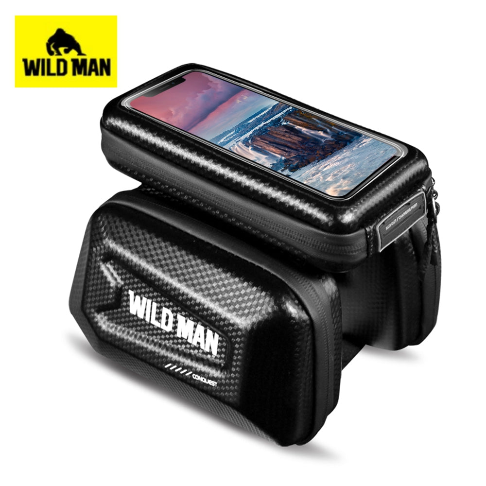 WILD MAN E6S 1L Bicycle Front Tube Bag with Detachable Cell Phone Pouch TPU Sensitive Touchscreen