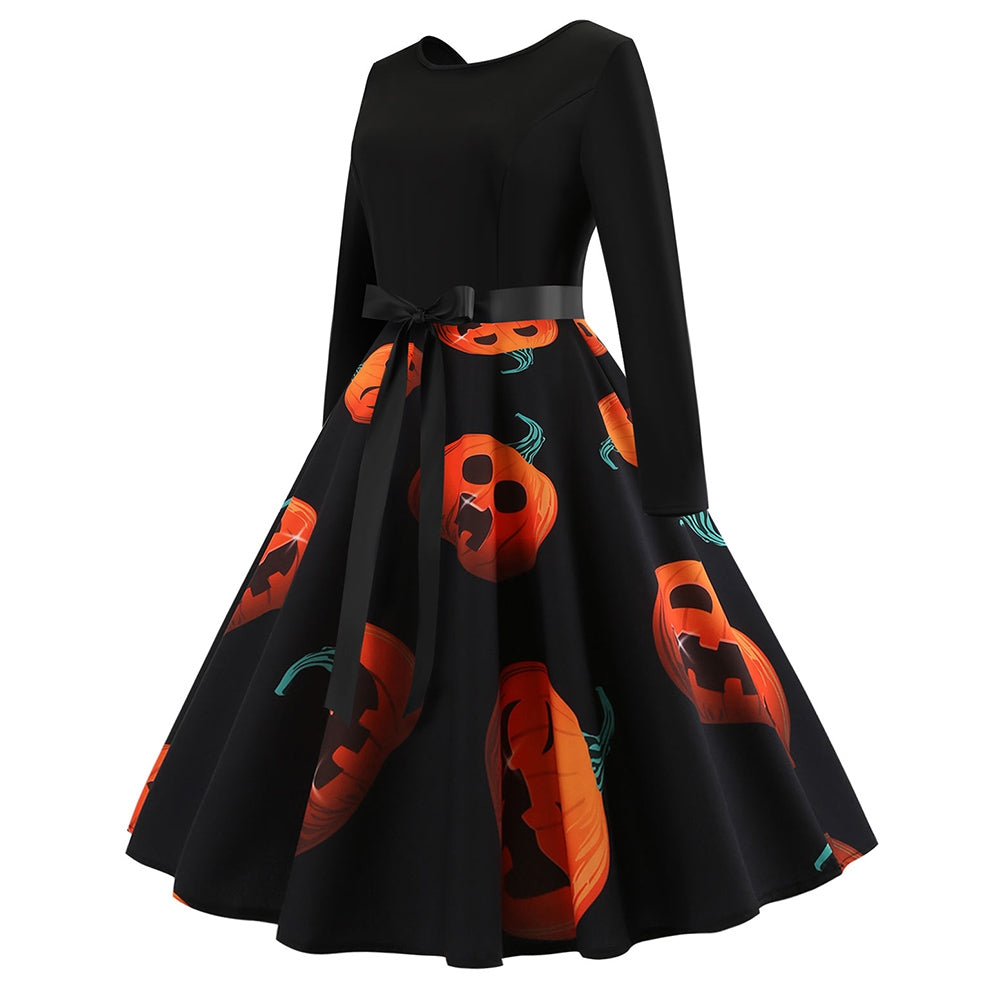 Plus Size Printed Halloween Pin Up Dress