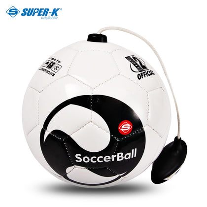 SUPER-K 6-inch PVC Soccer Ball with Training Rope for Toddlers Kids
