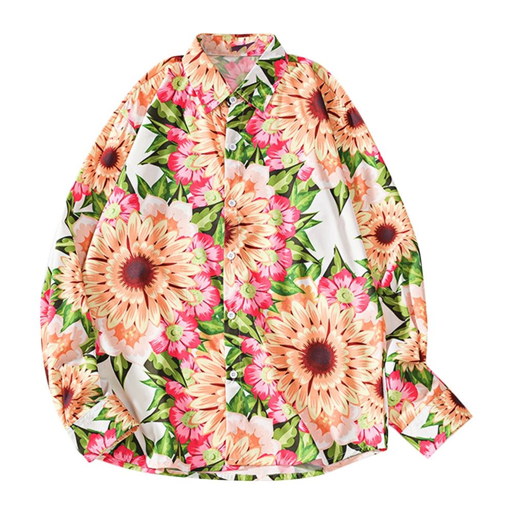 Men Shirt Sunflower Print Long Sleeve Turn-down Collar Button Closure Design