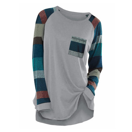 Raglan Sleeve Striped Pocket Longline T-shirt
