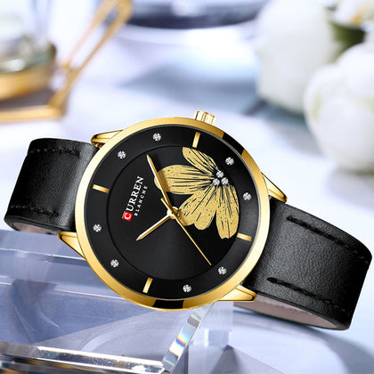 CURREN 9048 Ladies Waterproof Round Watch Simple Flowers Belt