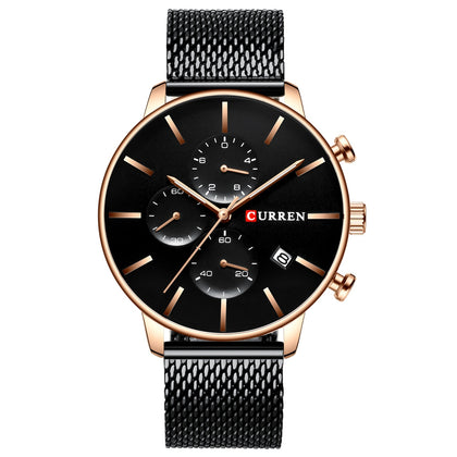 CURREN 8339 Men's Casual Round Six-Piece Watch Waterproof Simple Net Belt