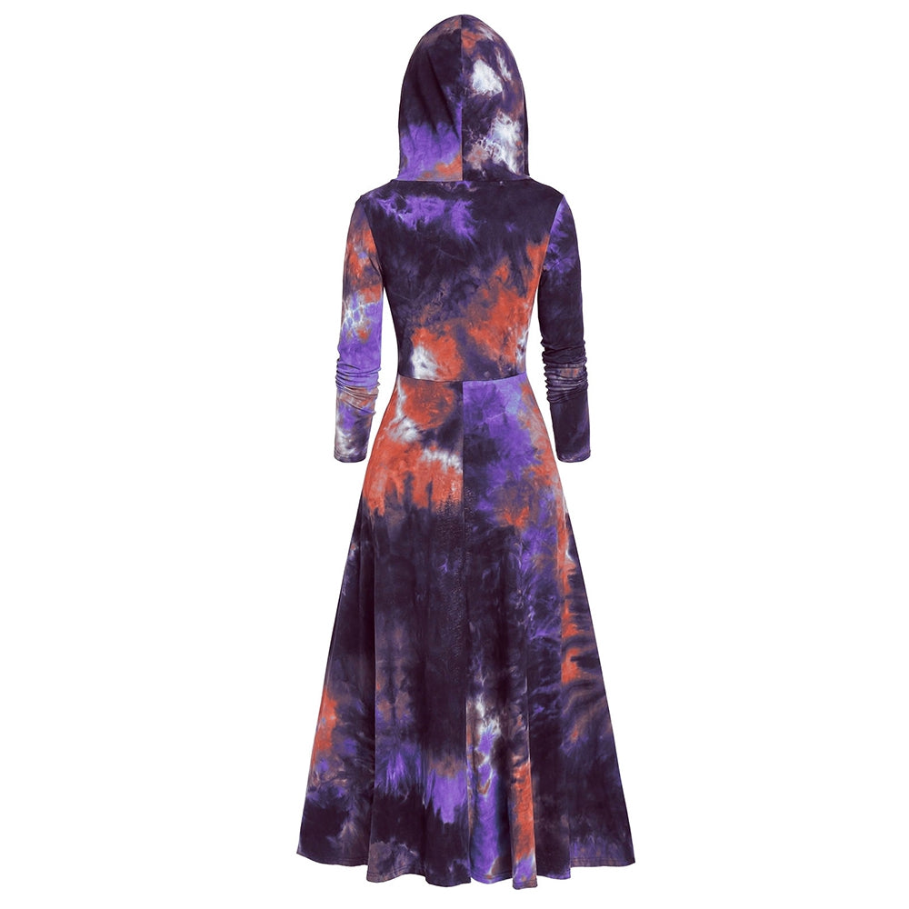 Tunic Tie Dye Hooded Long Sleeve T Shirt