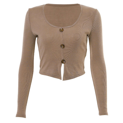 Single-breasted Pullover Solid Color Round Neck Long Sleeve Women Crop Top