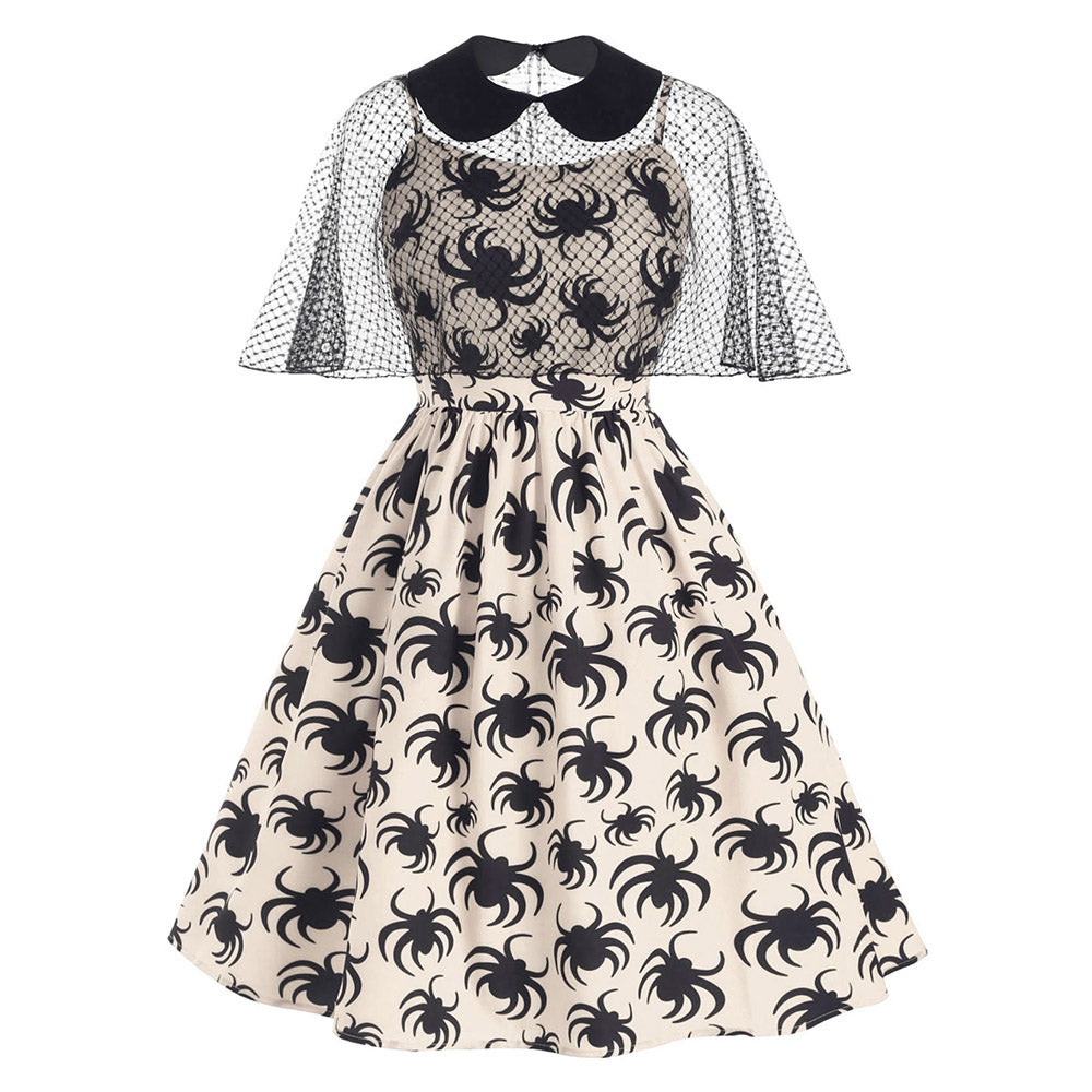 Halloween Spider Print Cami Dress and Collared Mesh Poncho
