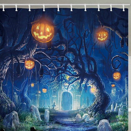 Halloween Cemetery Pumpkin Tree Print Waterproof Bathroom Shower Curtain