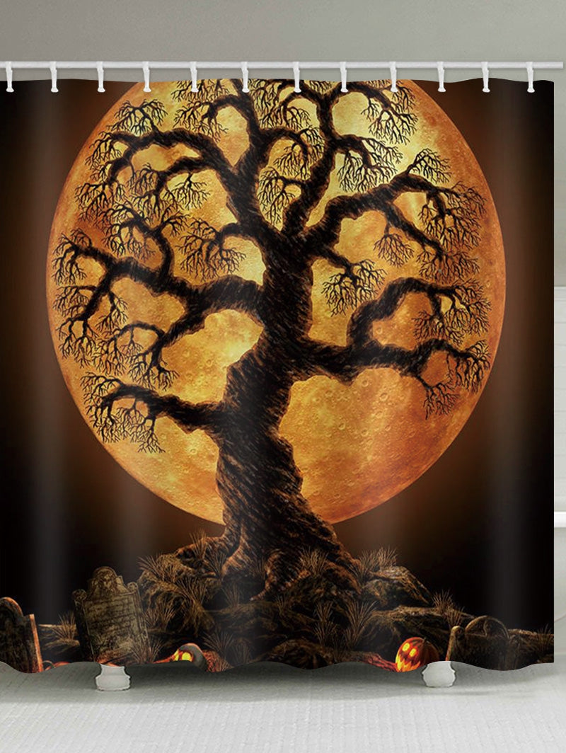 Halloween Tree Moon Night Print Waterproof Bathroom Shower Curtain