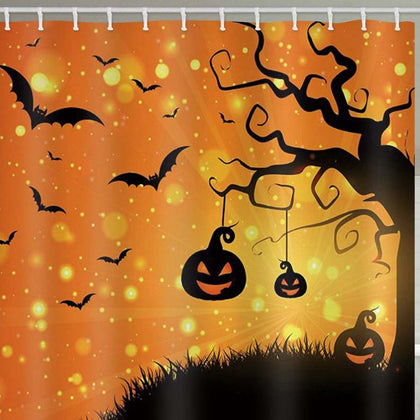 Halloween Pumpkin Tree Print Waterproof Bathroom Shower Curtain