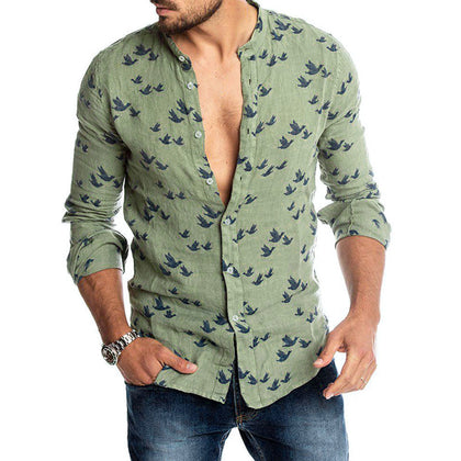 Bird Figure Allover Print Long Sleeve Casual Shirt