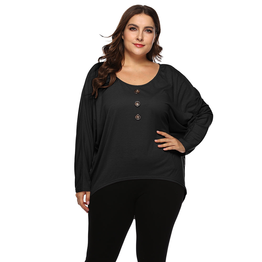 Plus size Round neck bat sleeve top