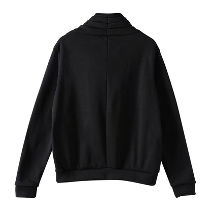 Women Coat Diagonal Zipper Irregular Neckline Cardigan Long Sleeve