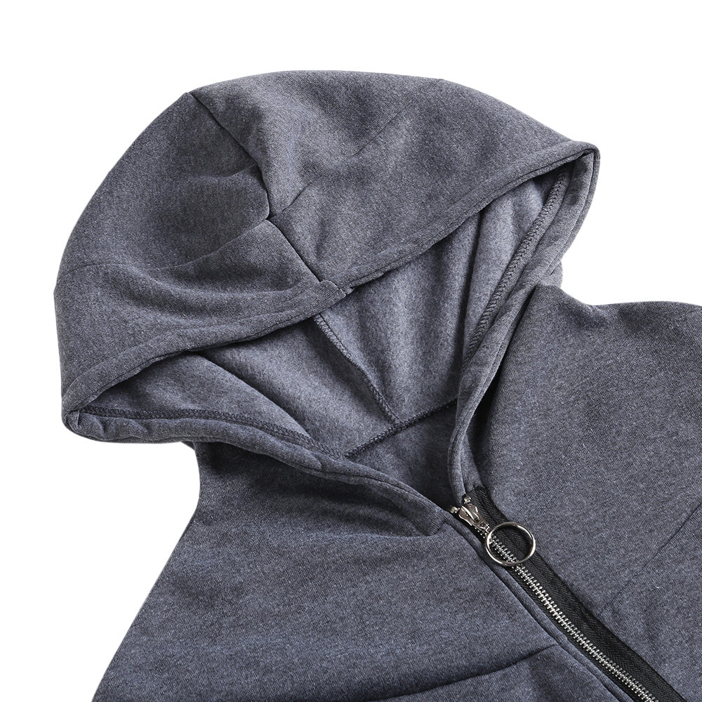 Diagonal Zipper Hooded Coat Women Irregular Jacket