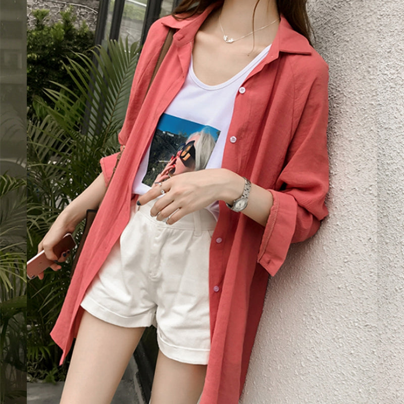 korean Women Loose Blouse Casual Top Fashion Shirt Plus Size