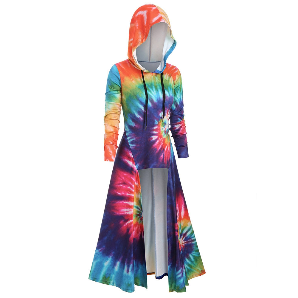 Hooded Spiral Tie Dye Print Maxi Top