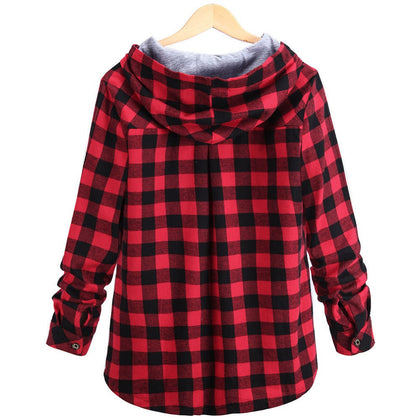 Fashion Plaid Hoodie Sweatshirt Coat Long Sleeve Blouse