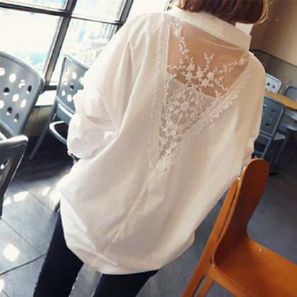 korean Lace Loose Blouse Casual Top Fashion Shirt Plus Size