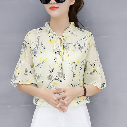 korean Floral Print Chiffon Blouse Ruffles Loose Blouse Casual Top Fashion Half Sleeve